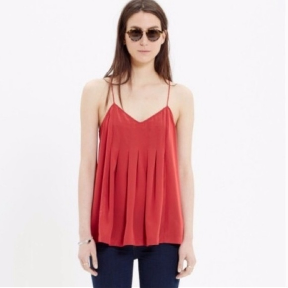 Madewell Red Pleated Cami Tank Top
